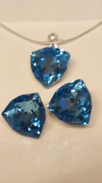 Poze Set cercei si medalion din argint cu cristale Swarovski Aquamarine Foiled Trilliant Fancy Stone