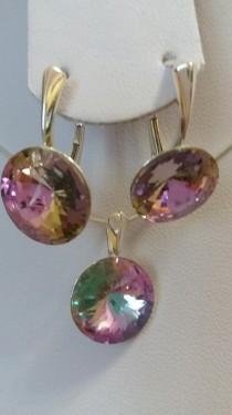 Poze Set cercei si medalion din argint cu cristale Swarovski Crystal Vitrail Light rivoli 14