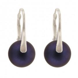 Poze Cercei din argint cu Swarovski Elements - Perle Mallorca iridescent dark blue 10