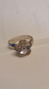 Poze Inel reglabil din argint cu cristale Swarovski Crystal Foiled fancy flower