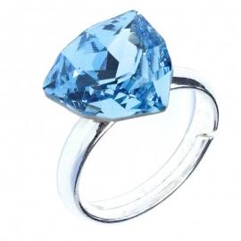 Poze Inel reglabil din argint cu Swarovski Elements Aquamarine Foiled Trilliant Fancy Stone