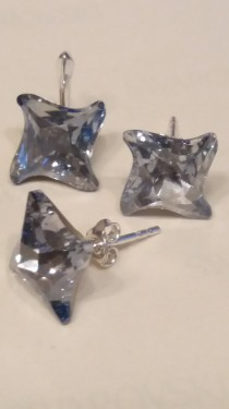 Poze Set cercei si medalion din argint cu cristale Swarovski Blue Shade Foiled twister