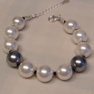 Bratara cu perle de Mallorca, cristale Swarovski si argint