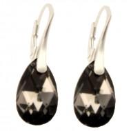 Cercei din argint cu cristale Swarovski Crystal Silver Night  pear