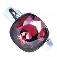 Inel reglabil din argint cu Swarovski Elements Square Magma