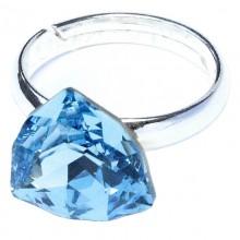 Inel reglabil din argint cu Swarovski Elements Aquamarine Foiled Trilliant Fancy Stone