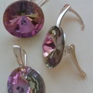 Set cercei si medalion din argint cu cristale Swarovski Crystal Vitrail Light rivoli 14