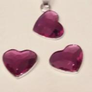 Set cercei si medalion din argint cu cristale Swarovski Fuchsia heart