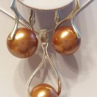 Set cercei si medalion din argint cu Perle Mallorca maro 12