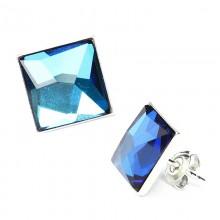 Cercei din argint cu cristale Swarovski Bermuda Blue Chessboard 10