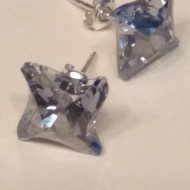 Cercei din argint cu cristale Swarovski Blue Shade Foiled twister