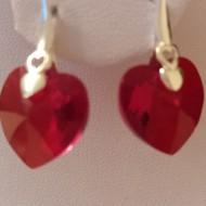 Cercei din argint cu cristale Swarovski Siam heart