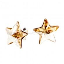 Cercei din argint si Swarovski Elements Golden star (steluta)