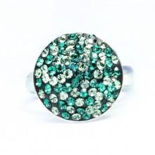 Inel reglabil din argint cu Swarovski Elements Smarald ceralun 14