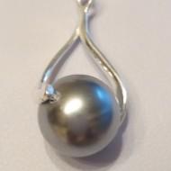 Medalion din argint cu Perla Mallorca gri 12