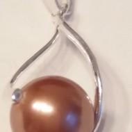 Medalion din argint cu Perla Mallorca maro 12