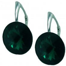 Set cercei si medalion din argint cu cristale Swarovski Emerald Foiled rivoli 12
