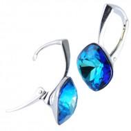 Cercei din argint cu cristale Swarovski Bermuda Blue Foiled square rhinestone 12