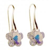 Cercei din argint cu cristale Swarovski Crystal Aurore Boreale flower