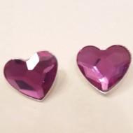 Cercei din argint cu cristale Swarovski Fuchsia heart