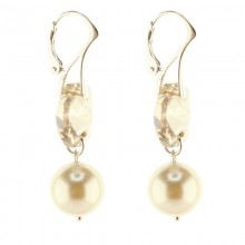 Cercei lungi din argint, Swarovski Elementssi Perle de Mallorca Golden