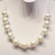 Colier din argint cu perle de Malorca si cristale Swarovski