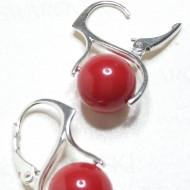Cercei din argint cu Perle Mallorca red coral 10