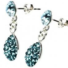 "Cercei din argint cu Swarovski Elements Aquamarine tip ""lacrima"""