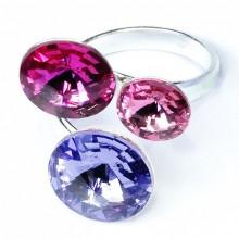 Inel reglabil din argint cu 3 cristale Swarovski rivoli light rose, fuchsia si sapphire
