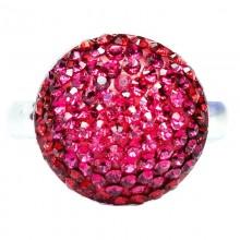 Inel reglabil din argint cu Swarovski Elements Light Siam-Rose ceralun 14