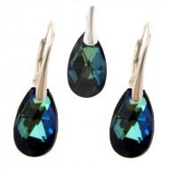 Set cercei si medalion din argint cu cristale Swarovski Bermuda Blue pear