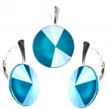 Set cercei  si medalion din argint cu Swarovski Elements Azure Blue Unfoiled rivoli 14