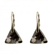 Cercei din argint cu cristale Swarovski Silver Night triangle