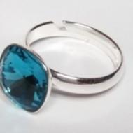 Inel reglabil din argint cu cristal Swarovski Square Indicolite