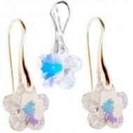 Set Set cercei si medalion din argint cu cristale Swarovski Crystal Aurore Boreale flower