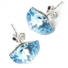Cercei din argint cu cristale Swarovski Aquamarine Foiled Trilliant Fancy Stone
