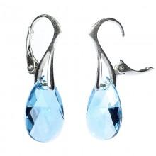 Cercei din argint cu cristale Swarovski Aquamarine pear