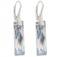 Cercei  din argint cu Swarovski Elements Crystal Argent Light queen baguette  25