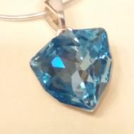 Medalion din argint cu cristale Swarovski Aquamarine Foiled Trilliant Fancy Stone