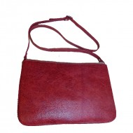 Poşeta din piele naturală Tonia Silver & Red Box