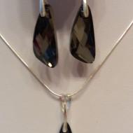 Set cercei si medalion din argint cu cristale Swarovski Crystal Silver Night wing