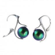 Cercei din argint cu Perle Mallorca Crystal Scarabaeus Green Pearl 10