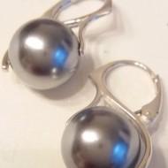 Cercei din argint cu Perle Mallorca gri 12