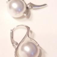 Cercei din argint cu Swarovski Elements - Perle Mallorca crystal white 10