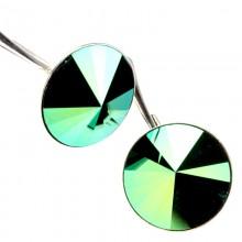 Cercei din argint cu Swarovski Elements Scarabaeus Green Foiled rivoli 12