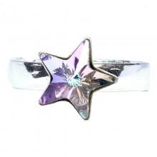 Inel reglabil din argint cu cristal Swarovski Vitrail Light star