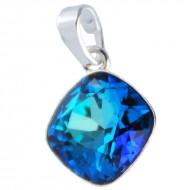 Medalion din argint cu cristale Swarovski Bermuda Blue Foiled square rhinestone 12