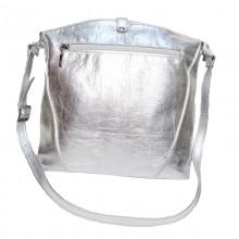 Poşeta din piele naturală Silver Rebeca cu insertii Swarovski
