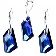 Set cercei si medalion din argint cu cristale Swarovski Bermuda Blue 19