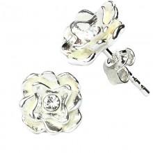 """Cercei din argint cu model """"floare"""" si cristal alb"""